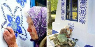 90-jarige transformeert klein dorp in kunstgalerij door bloemen te schilderen op alle huizen