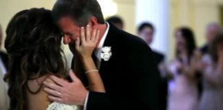 Halverwege vader-dochter dans onderbreekt bekende stem het huwelijk - vader begint te huilen