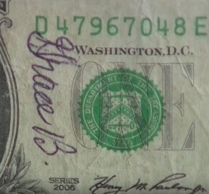 geschreven op geldbiljet