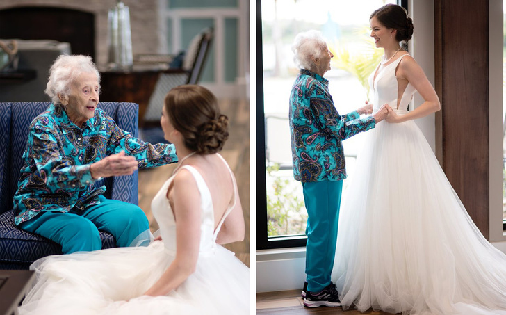 oma en bruid