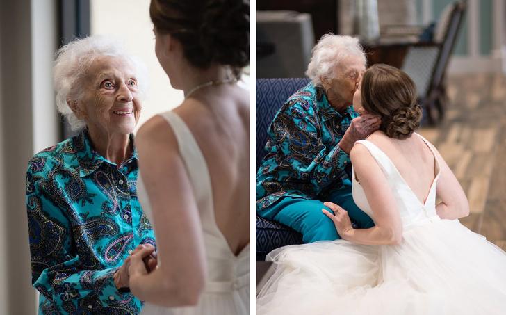 emotionele foto van bruid en oma