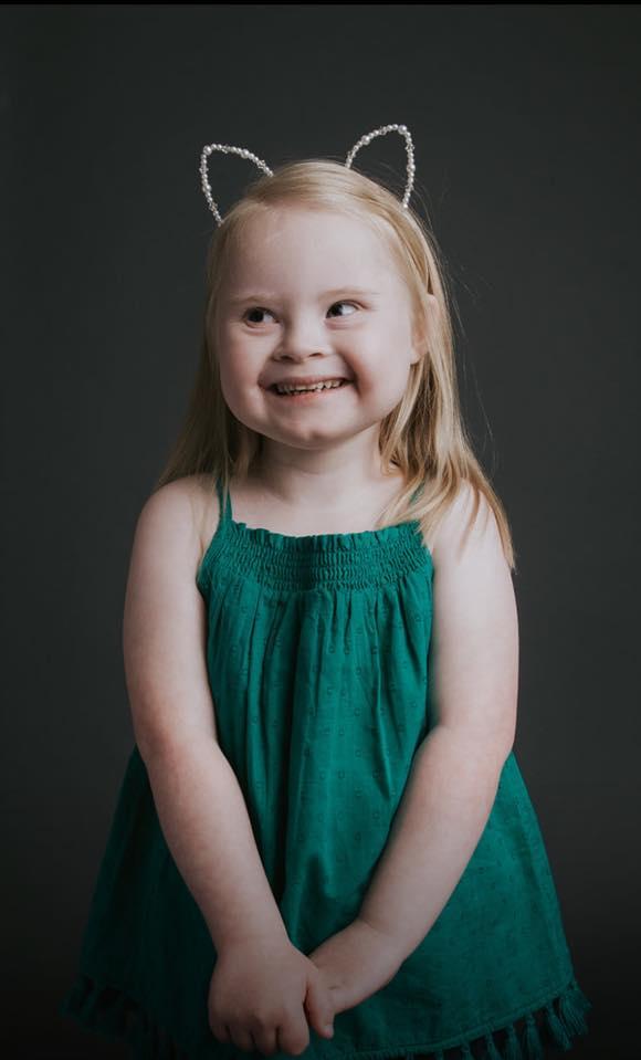 7-jarige model met syndroom van Down