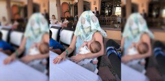 Moeder die borstvoeding geeft heeft een hilarische reactie wanneer ze wordt gevraagd om het te verbergen
