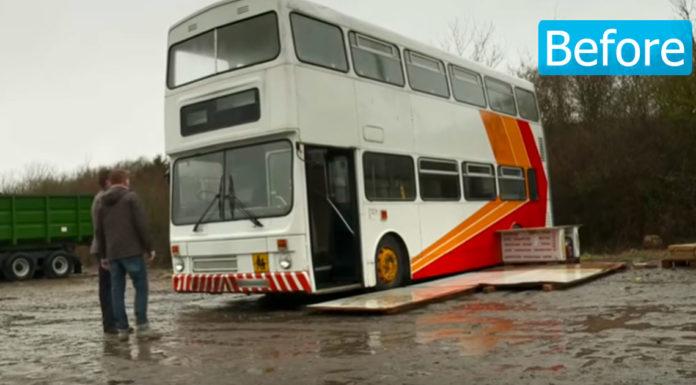 Alleenstaande vader koopt oude bus en maakt er een prachtig huis van voor hem en zijn dochter