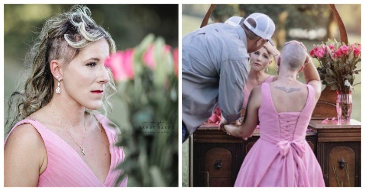Emotionele fotoshoot van kankerstrijder toont hoe haar man haar hoofd kaal scheert