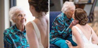 Bruid brengt stiekem een trouwjurk naar haar zieke oma om nog een laatste moment samen te delen
